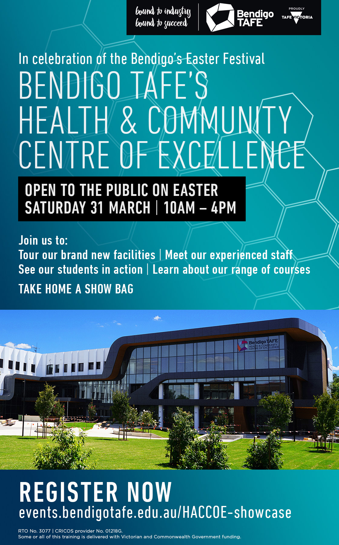 Bendigo Tafes Health & Community Centre of Excellence open 31st of March 10 am to 4pm